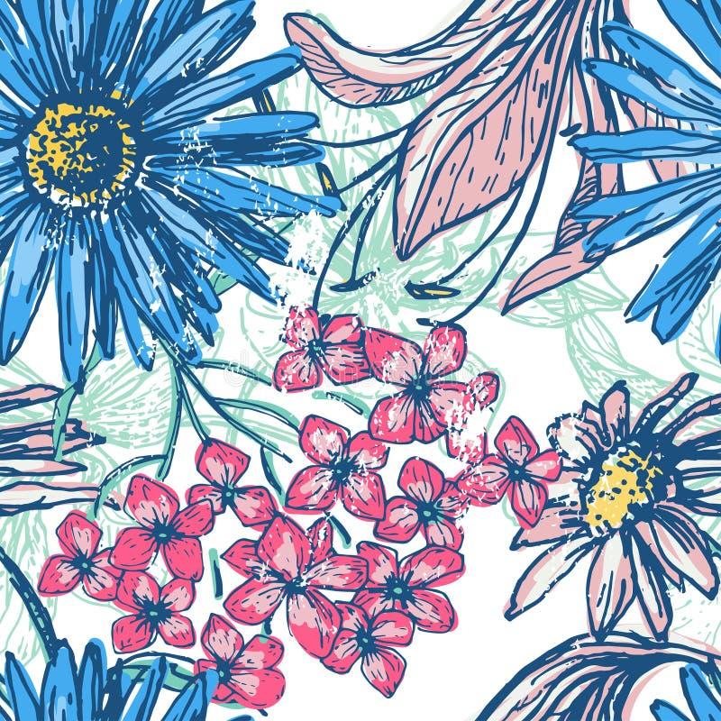 Retro bloemen naadloos patroon vector illustratie