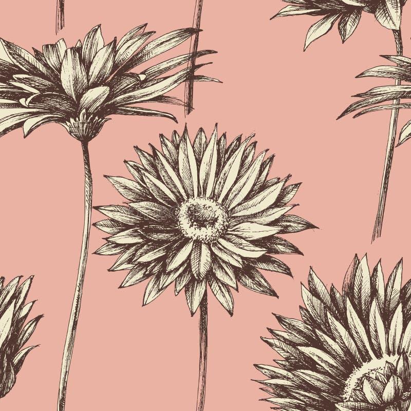 Retro bloemen naadloos patroon stock illustratie