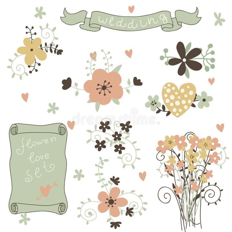 Retro bloemen in vector. Leuke bloemenboeketten. royalty-vrije illustratie