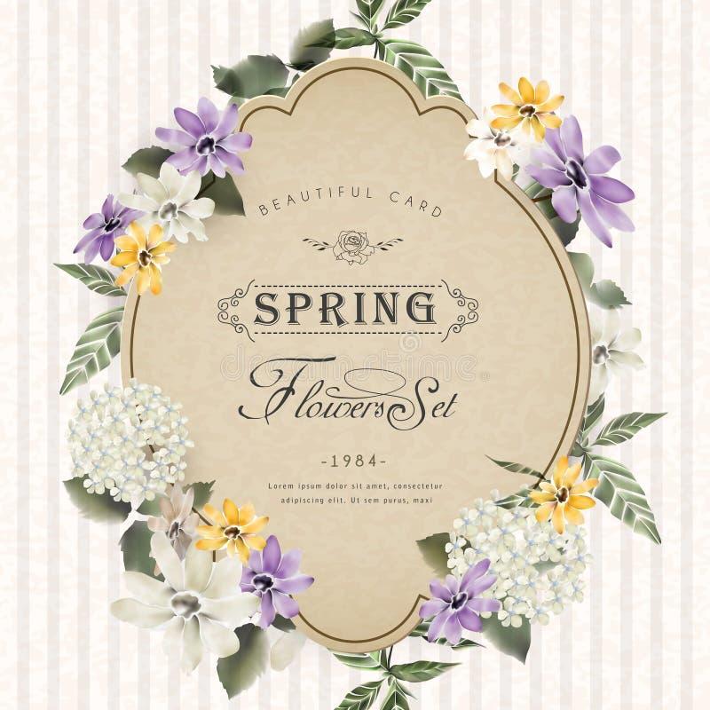 Retro bloemenkaartontwerp royalty-vrije illustratie