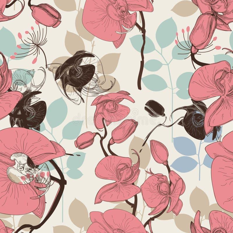 Retro bloemenpatroon royalty-vrije illustratie