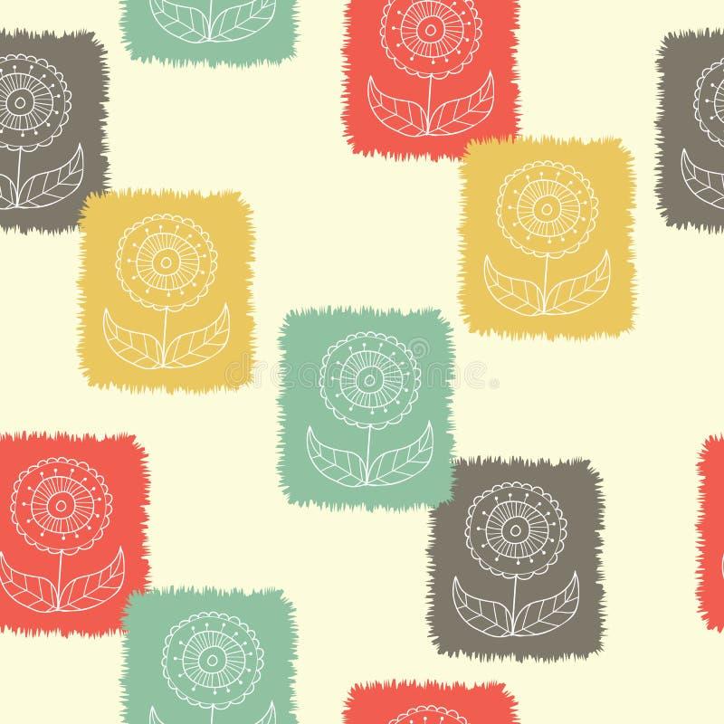 Retro blokowego druku kwiaty stemplują bezszwowego deseniowego tło Grunge natury drukowany etniczny tło, tapeta ilustracji