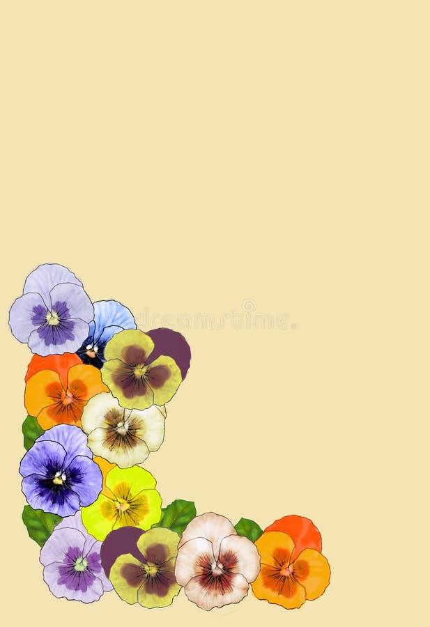 Retro blom- hörn med pansies arkivbild
