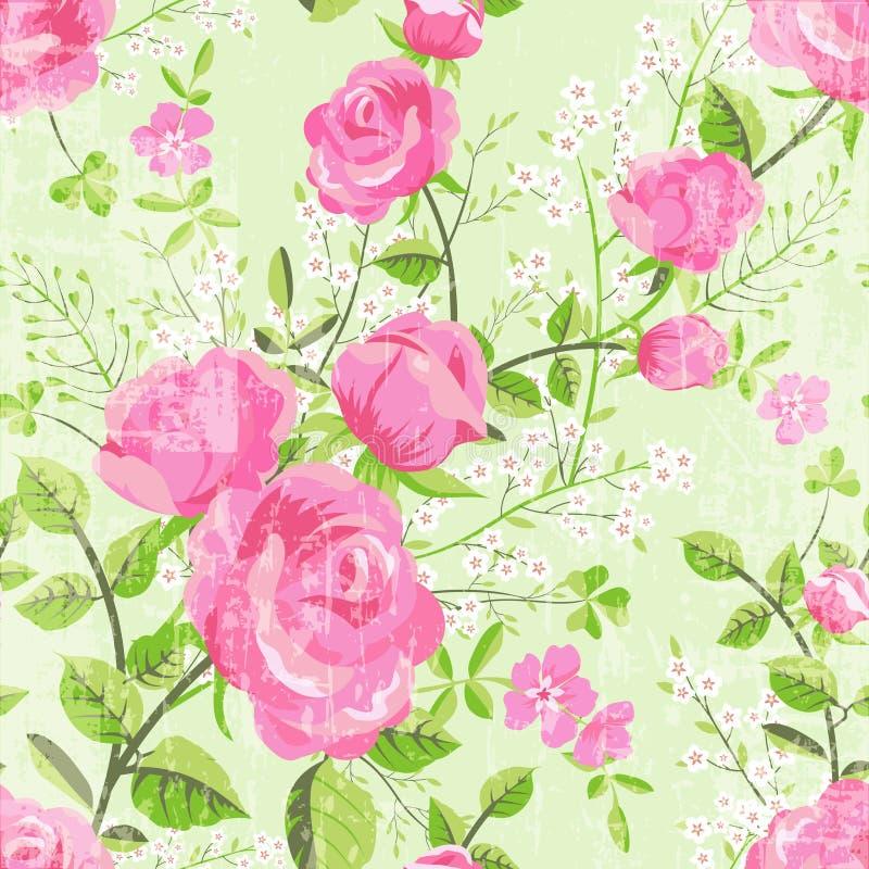 Retro blom- modell med rosor vektor illustrationer