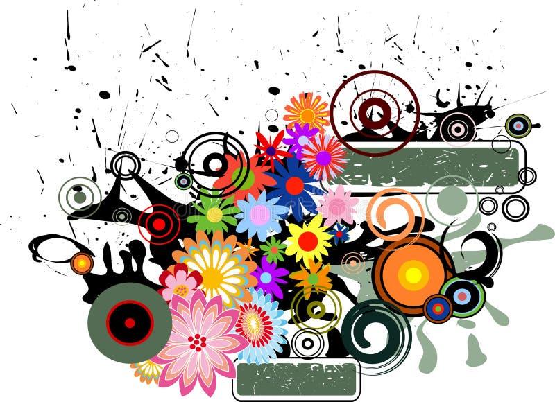retro blomma stock illustrationer