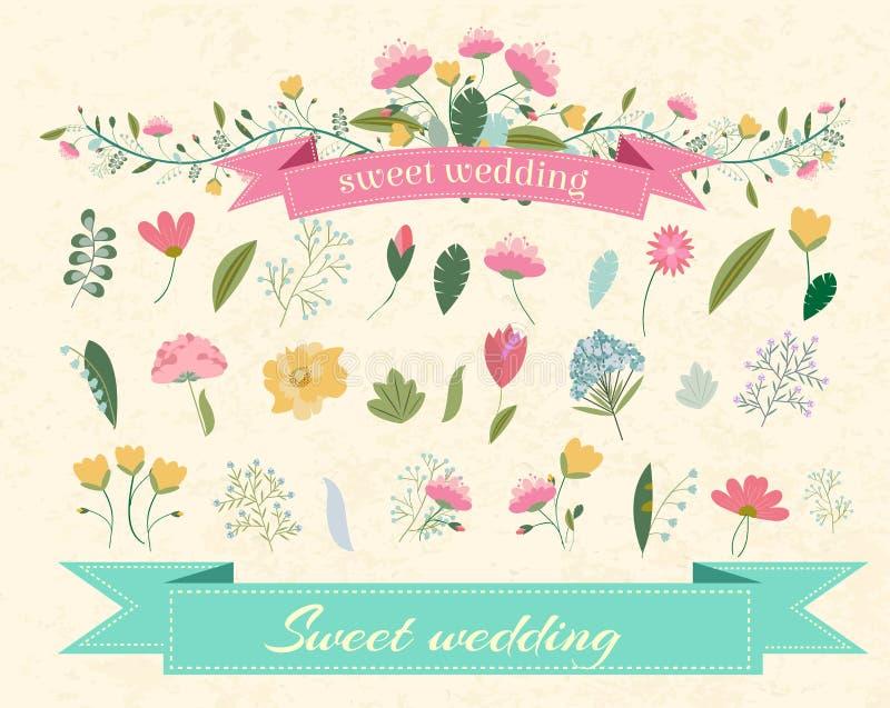 Retro blommabakgrundsbegrepp vektor stock illustrationer