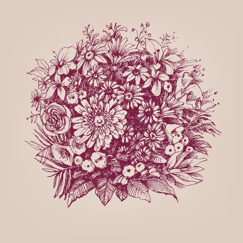 Retro blommabukett royaltyfri illustrationer