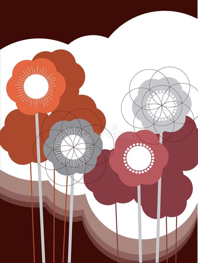 retro blommapuff vektor illustrationer