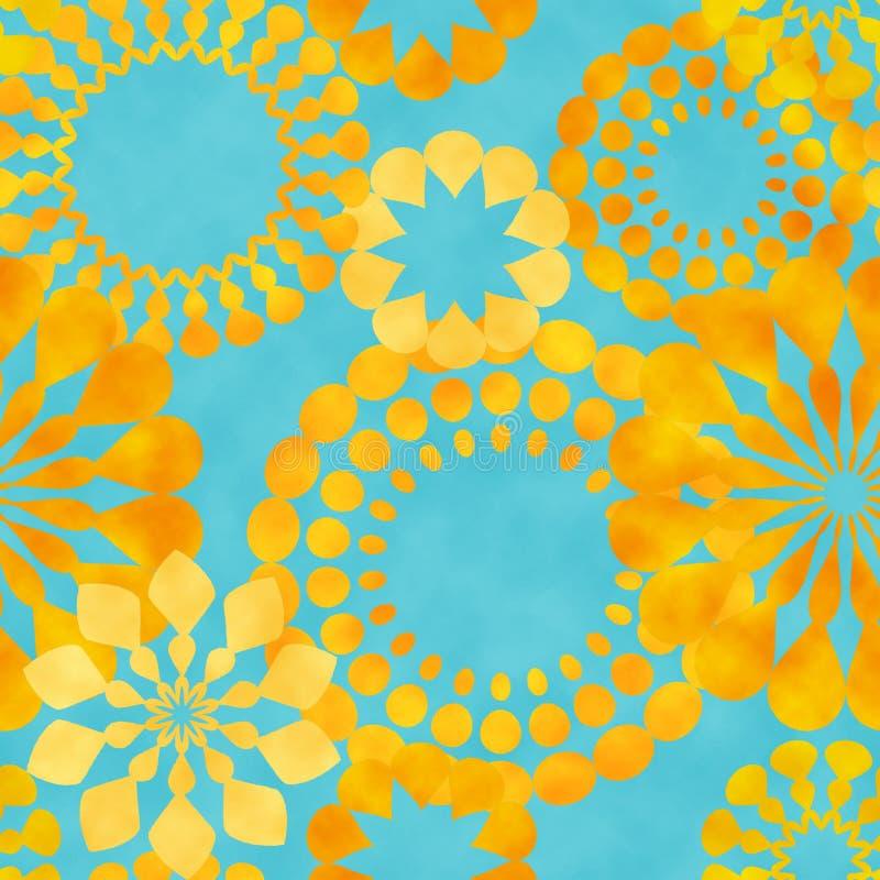 Retro blommor för gul vattenfärg på blått vektor illustrationer
