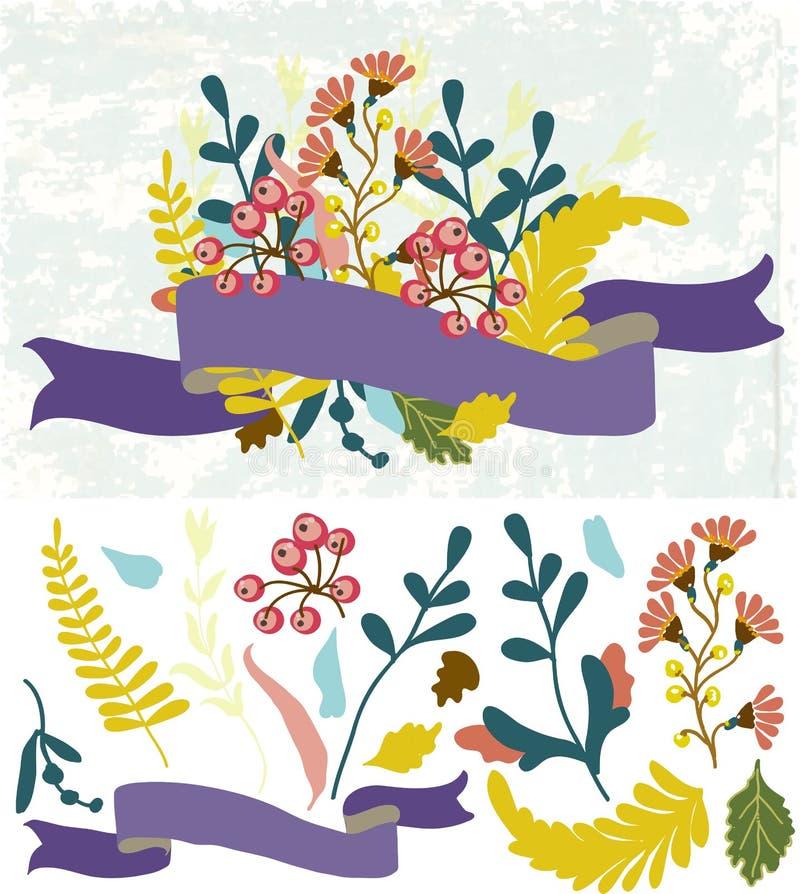 Retro blommor, gullig blom- bukett royaltyfri illustrationer