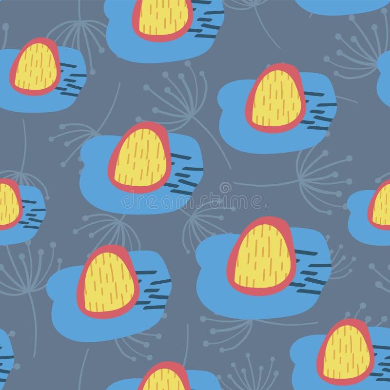 Retro blommor som är blåa som är gula och som är röda på blå sömlös vektorbakgrund abstrakt vildblommar Skandinavisk stil abstrak vektor illustrationer