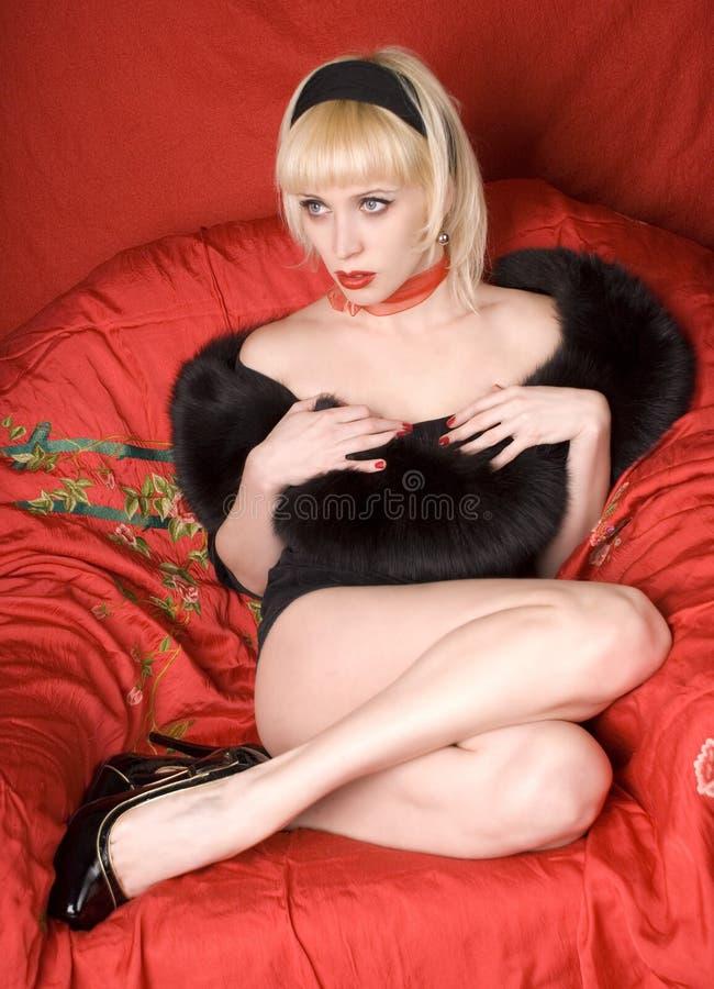 Retro- blondes Mädchen stockfotografie