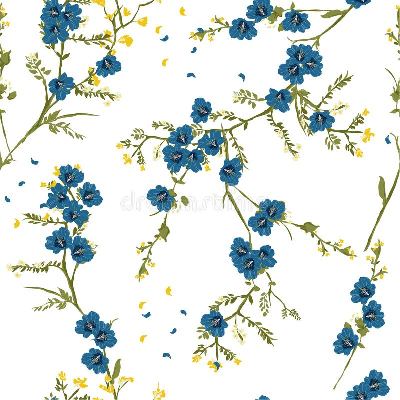 Retro blooming blue oriental flower in the night seamless patter. N vector for fashion fabric and all prints on white background royalty free illustration
