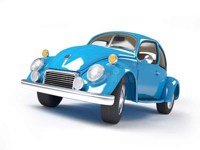 Retro blue car. Blue retro car from forties on a white background vector illustration