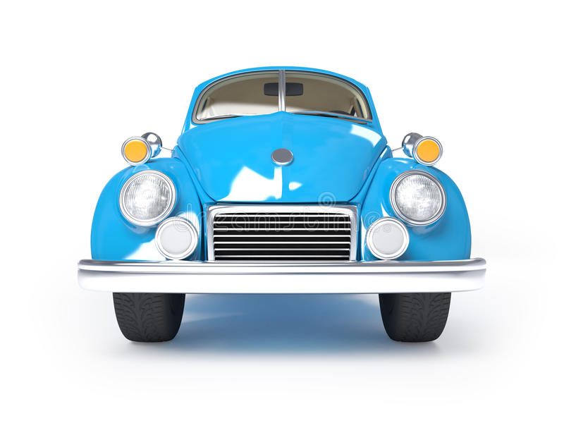 Retro blue car. Blue retro car from forties on a white background. Front view stock illustration