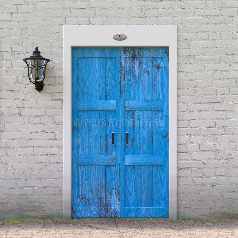 Retro Blue Door in Old Grunge White Brick Wall with Vintage Iron Lantern. 3d Rendering stock illustration