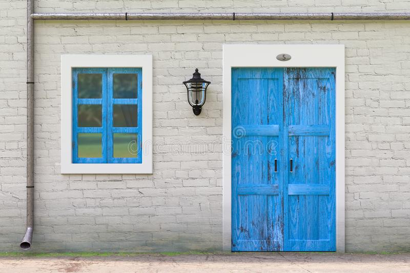 Retro Blue Door, Window, Gutter in Old Grunge White Brick Wall with Vintage Iron Lantern. 3d Rendering royalty free stock images