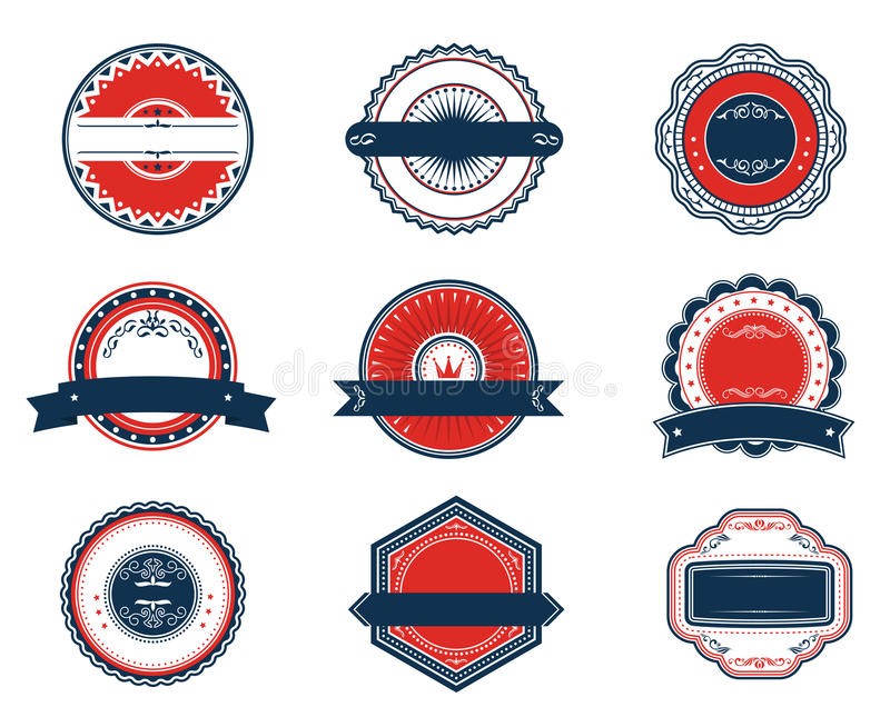 Download Retro Blue And Red Labels Set Stock Vector - Image: 25820888