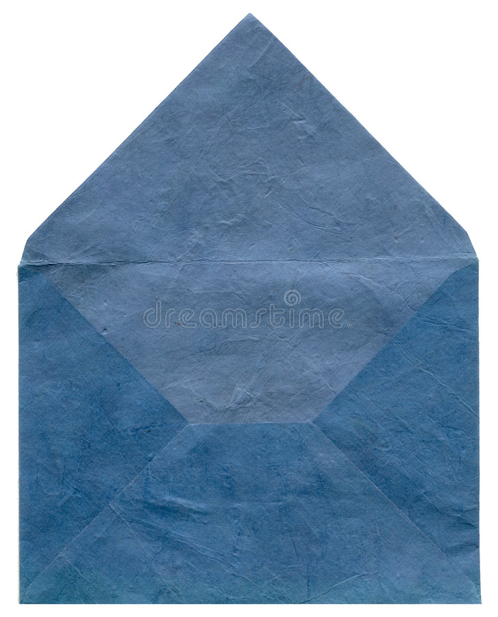 Retro blue textured envelope stock image