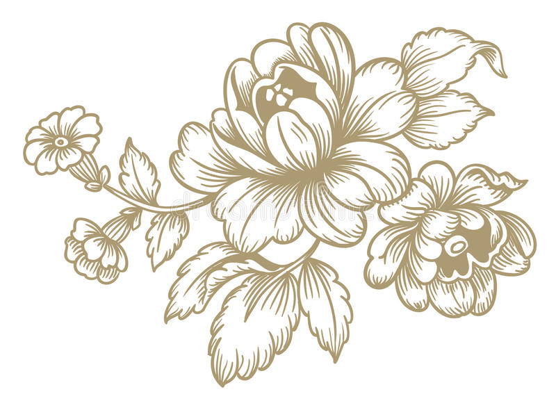 Retro- Blumen lizenzfreie abbildung