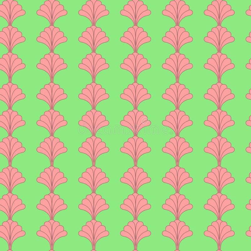 Retro- Blumen-geometrischer vertikaler nahtloser Muster-Entwurf in Grünem und in rosa vektor abbildung