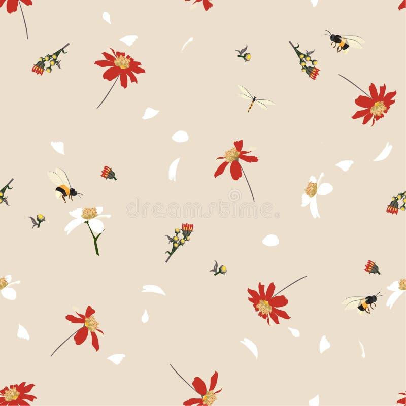 Retro- Blumendruck des weichen und leichten hübschen Gänseblümchens, der im Windentwurf mit nahtlosem Muster der Hummeln im Vekto stock abbildung