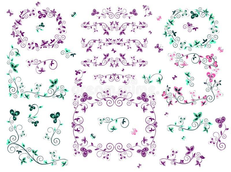 Retro- Blumengrenzen stock abbildung