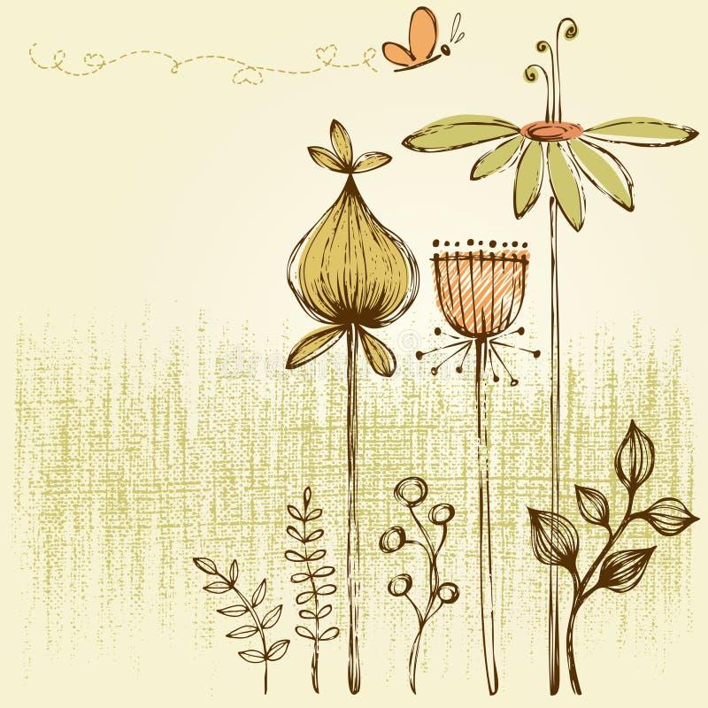 Retro- Blumenkarte lizenzfreie abbildung