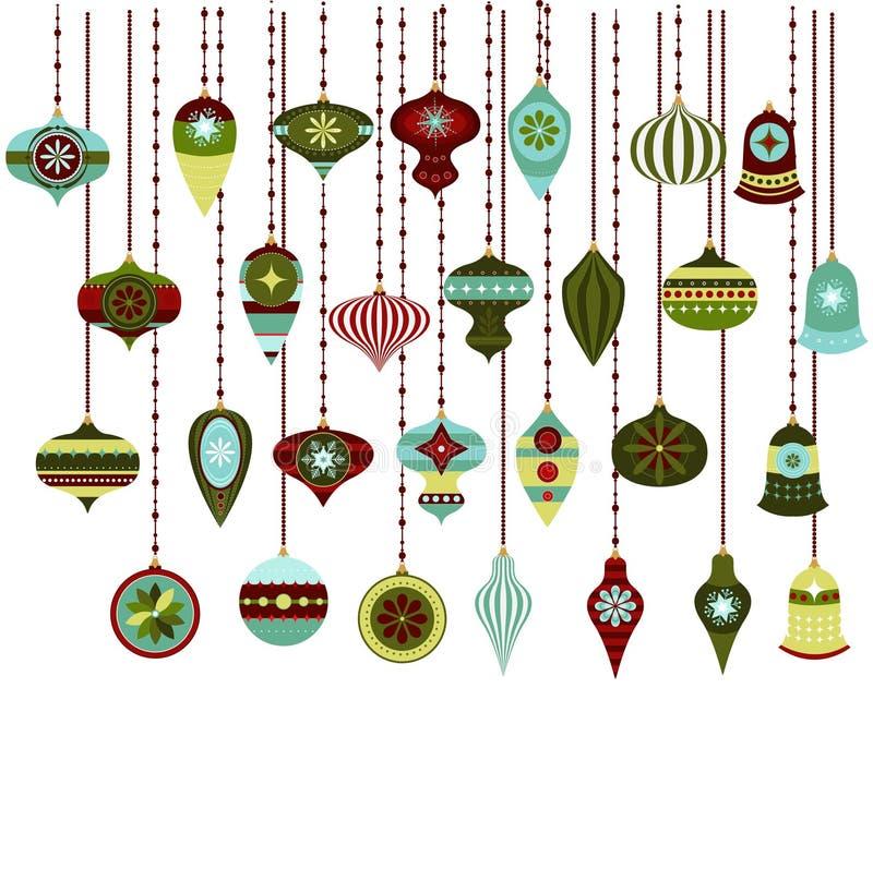 Retro boże narodzenie ornamentów wektor Clipart royalty ilustracja