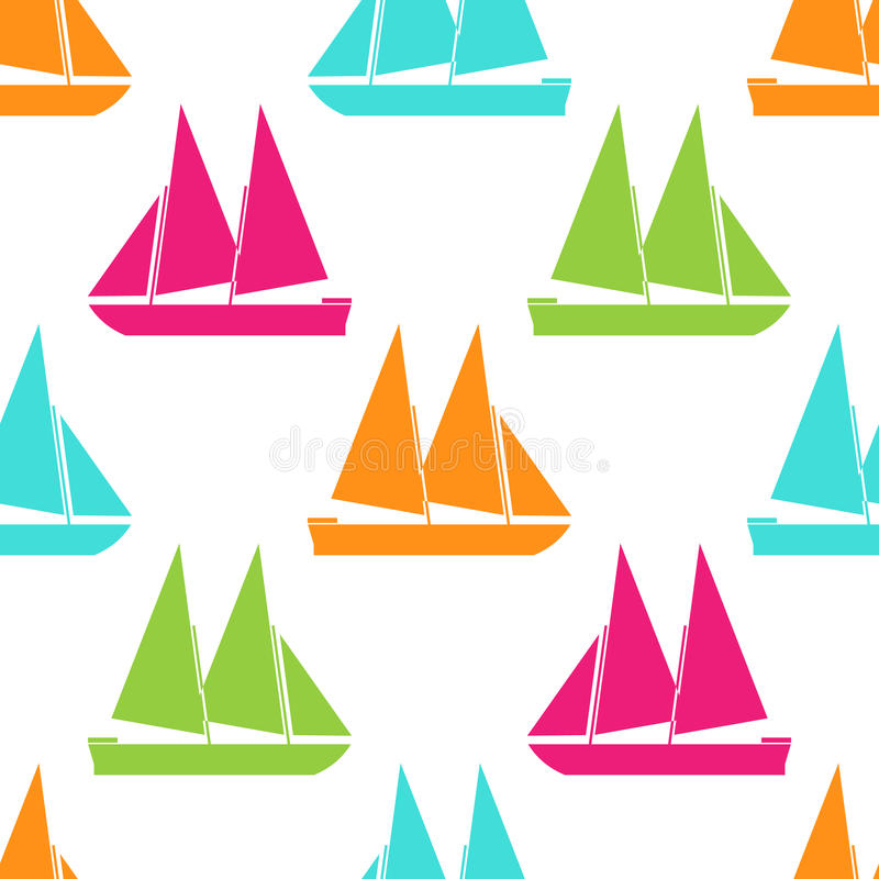 Retro boat seamless pattern. Vector illustration for nautical design. Bright yacht, ship, sailboat transport pattern. Marine sea cute wallpaper background royalty free illustration