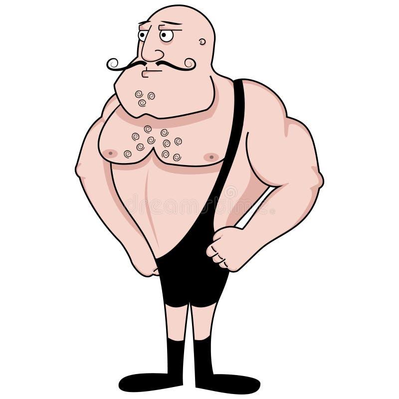 Retro bodybuilder vector illustratie