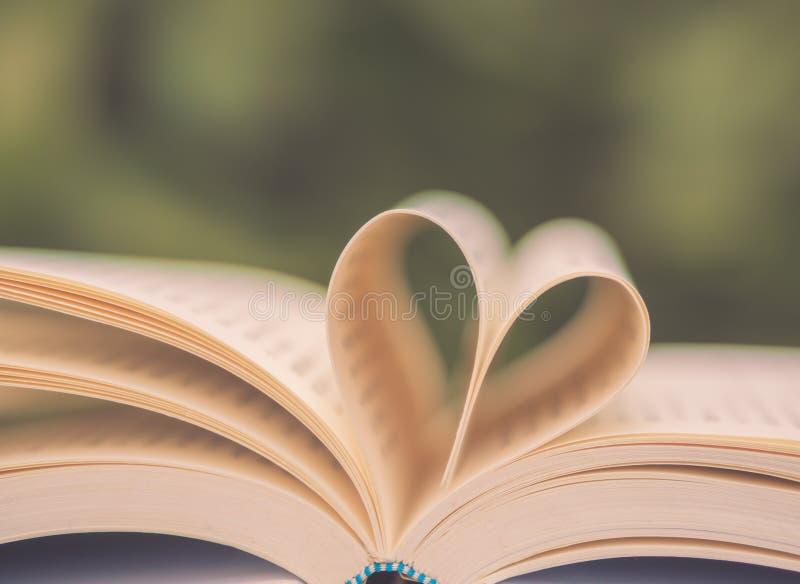 Retro boek op lijst in tuin met bovenkant één opende en pagina's die hartvorm met selectieve nadruk vormen royalty-vrije stock afbeelding