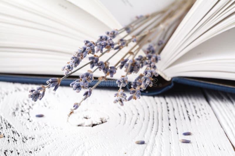 Retro boeket van droge lavendel met boeken royalty-vrije stock afbeelding