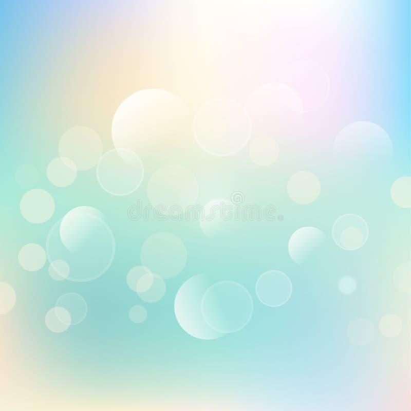 Retro- bokeh beleuchtet Hintergrund in den Pastellfarben vektor abbildung