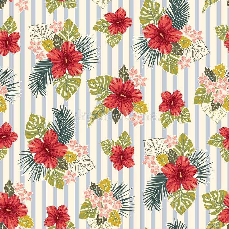 Retro Bold Colorful Tropical Exotic Foliage, Hibiscus Floral Vector Seamless Pattern. Blue and Cream Stripes Background. stock illustration