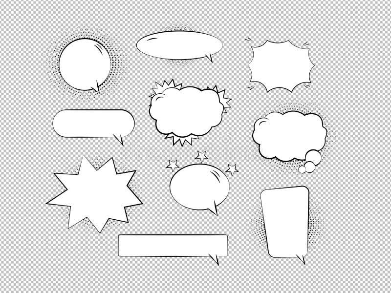 Retro bolle ed insieme di elementi comici vuoti con le ombre di semitono nere su fondo trasparente Illustrazione di vettore illustrazione di stock