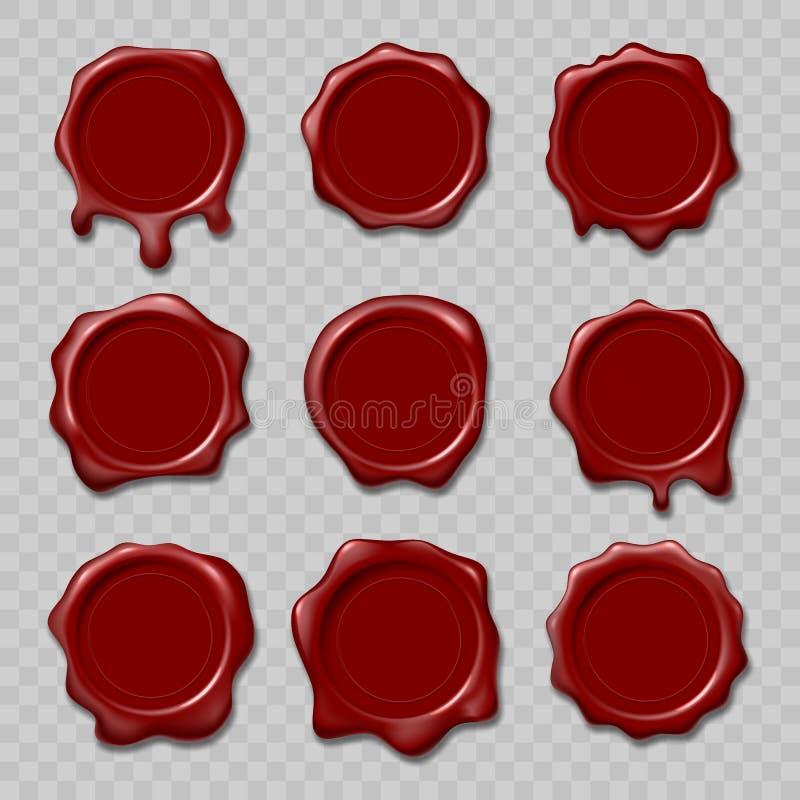 Retro bolli della cera della guarnizione Bolli per il certificato ed il documento, lettera, busta Protezione e certificazione, ga illustrazione di stock