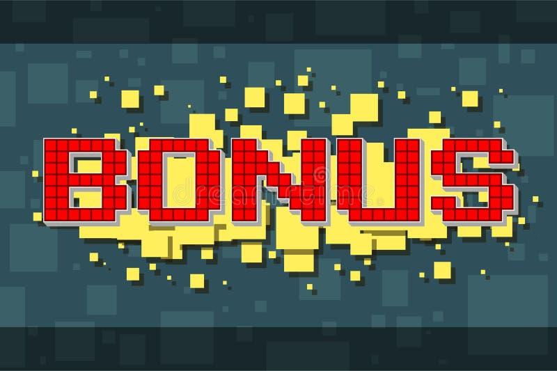Retro bonusknapp för rött PIXEL för videospel vektor illustrationer