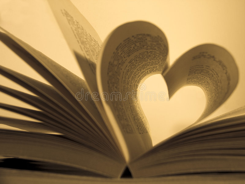 Retro book. Opened book with heart shaped pages