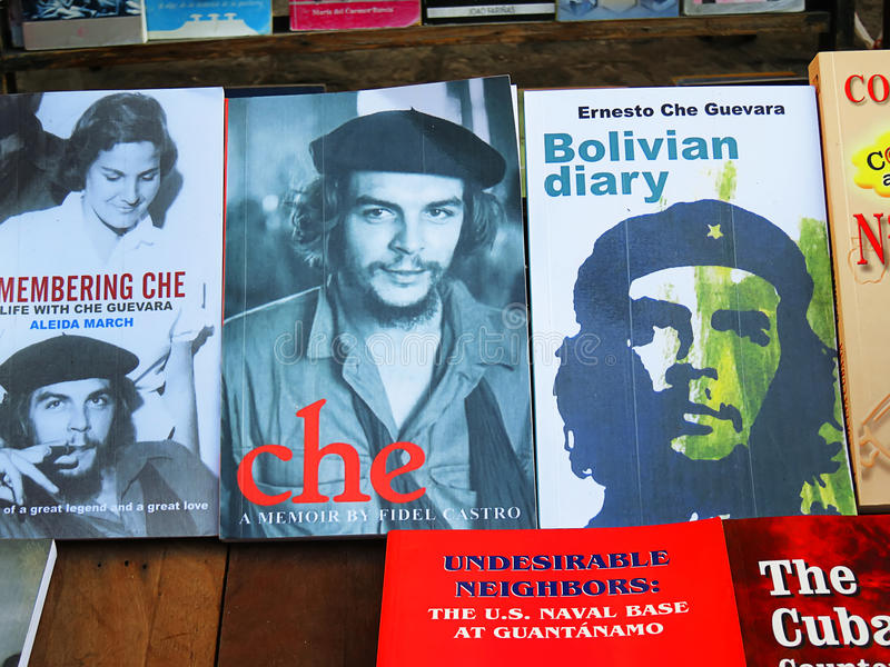 Retro books about Ch Guevara in Havana. Cuba, Havana - 08 April, 2016: books about Che Guevara, a Bolivian rebellion leader on book stalls of Havana, who raised royalty free stock photo