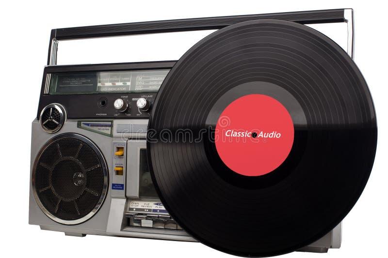 Retro- boombox und Vinyl Retro- Gettobläser und Vinyl - Weinlese lizenzfreie stockfotos