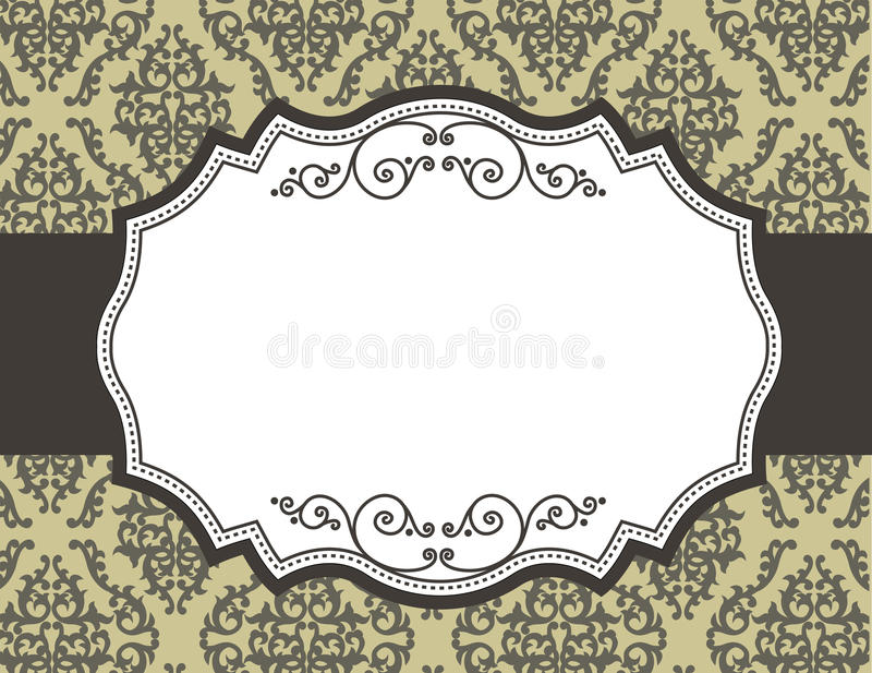 Download Retro Border / Frame With Damask Pattern Stock Image - Image: 30810351