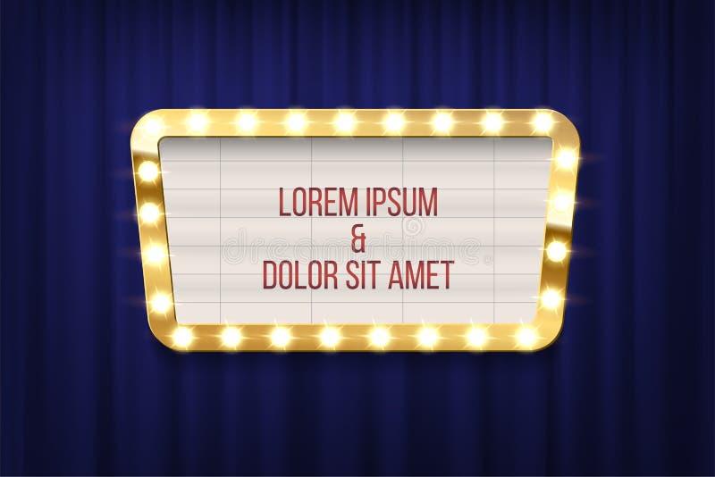 Retro bordo di annuncio del cinema con la struttura della lampadina sul fondo blu delle tende Elemento di disegno di vettore royalty illustrazione gratis