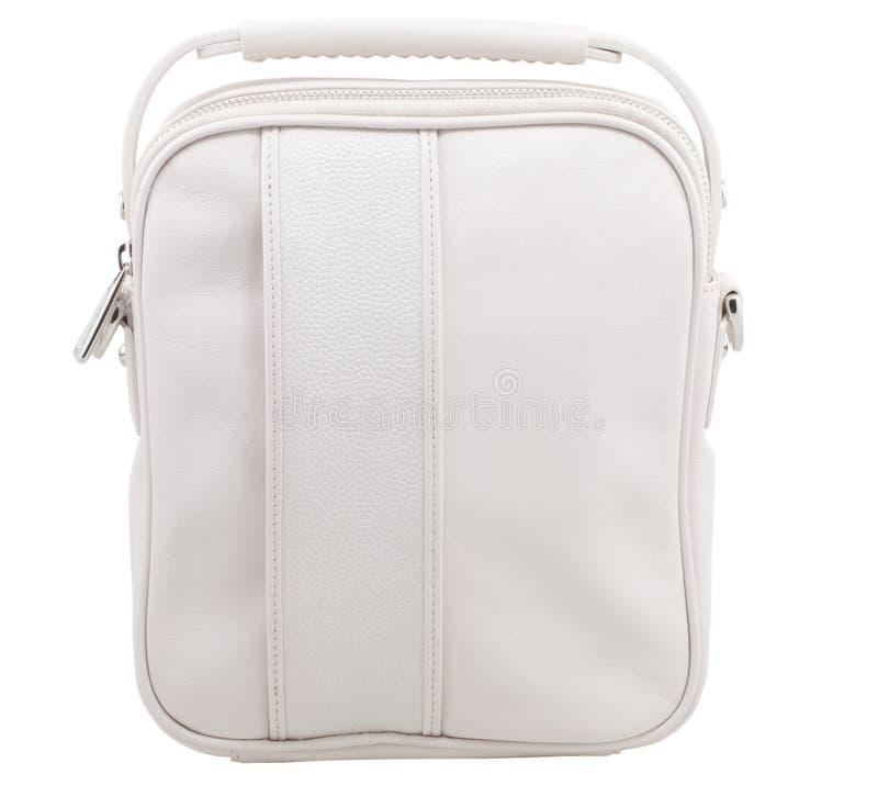 Retro borsa di sport del cuoio bianco fotografia stock libera da diritti