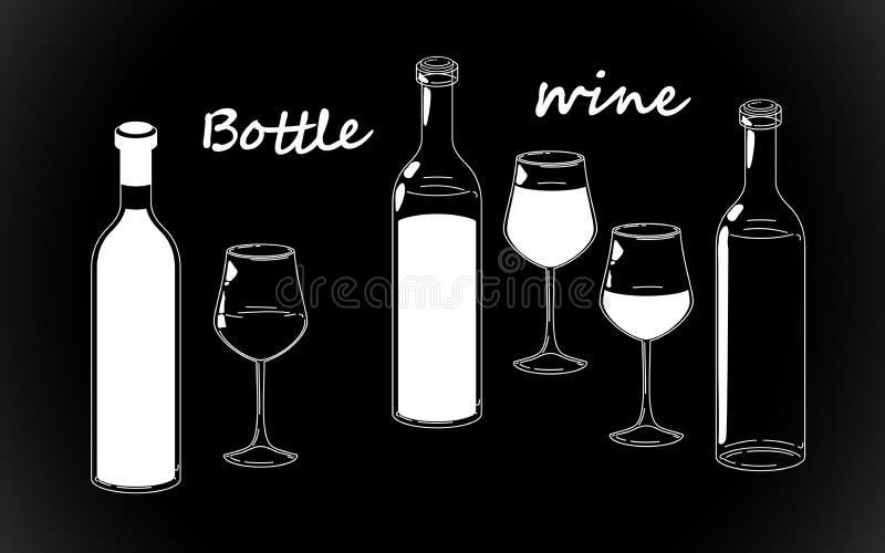Retro bottiglia, vetri del disegno a tratteggio e siluette bianche messe del vino, mano d'annata antiquata che attinge fondo nero illustrazione vettoriale