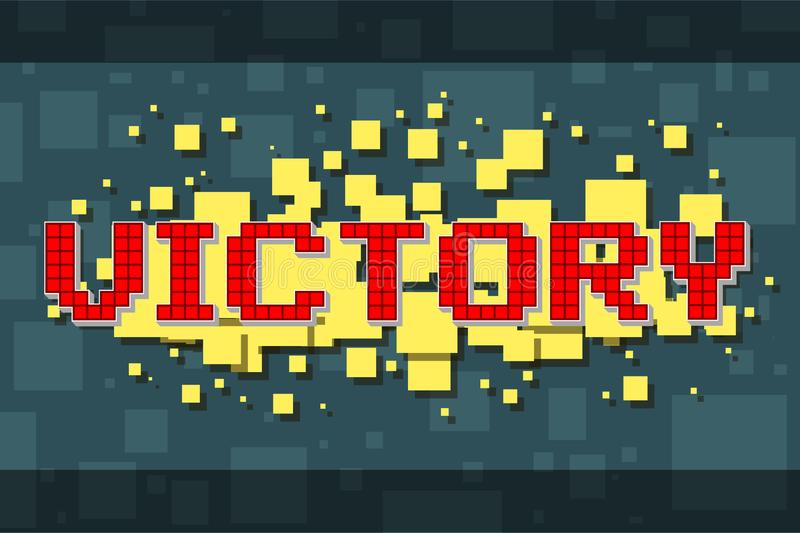 Retro bottone di vittoria del pixel rosso per i video giochi royalty illustrazione gratis