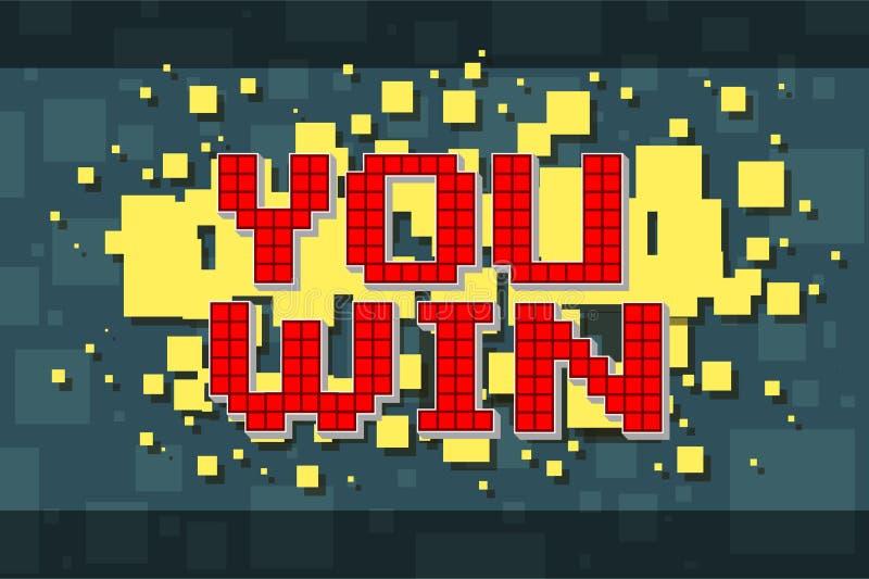 Retro bottone di vittoria del pixel rosso per i video giochi illustrazione di stock