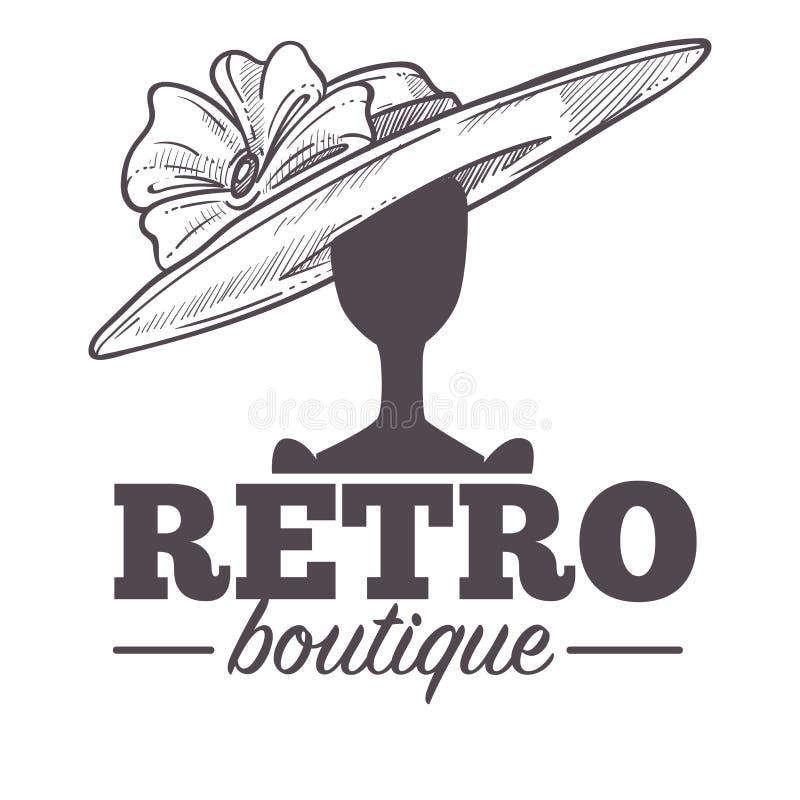 Retro-Boutique-Logo mit Vintage-Hut auf Mannequin-Kopf vektor abbildung