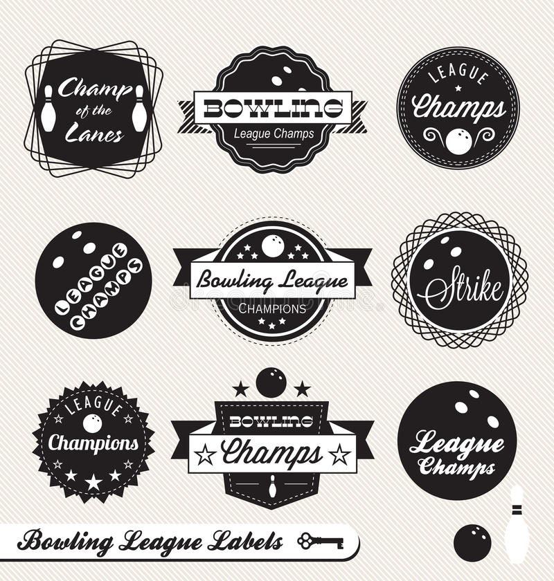 Retro bowlingligaetiketter och etiketter vektor illustrationer