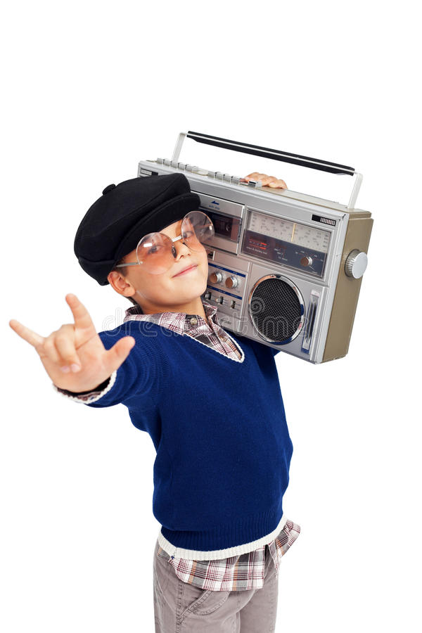 Retro Boy With Portable Cassette Player Stock Image